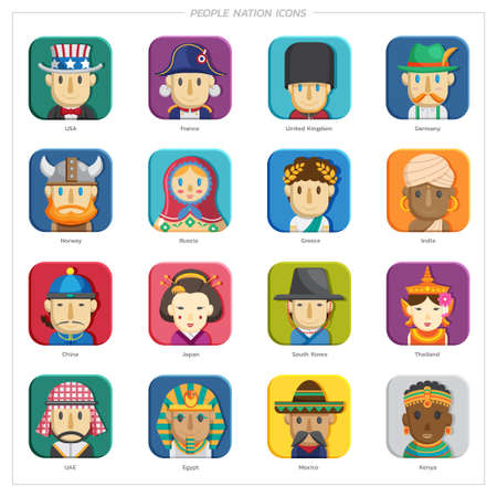 Portraits of people of different nationalities. people in traditional costumes. Asia, Europe, UAE, American, African, Vector illustration in flat style collection.