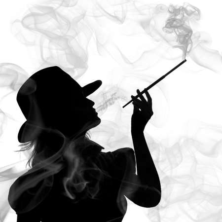 smoking girl: silhouette of smoking woman isolated on a white background Stock Photo