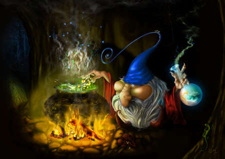 drawing fairy sly wizard in cave photo