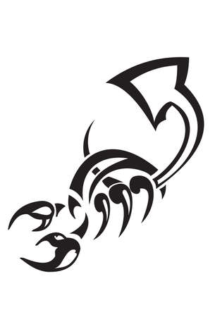 tribal scorpion tattoo isolated on white Vector