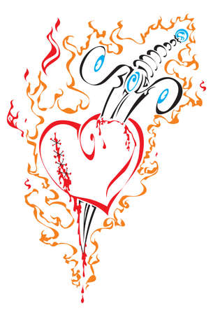 tribal broken heart with knife in fire Illustration