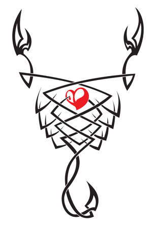 tribal scorpion with heart Vector
