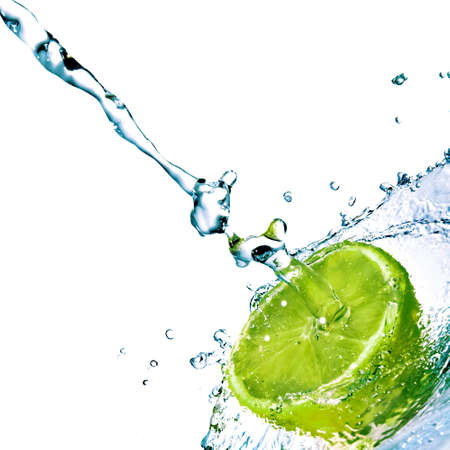fresh water drops on lime isolated on white Stock Photo - 4166502