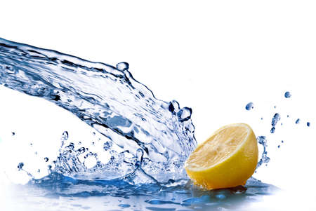 fallin: fresh water drops on lemon isolated on white