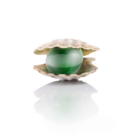 clam illustration: stylized green pearl isolated on white