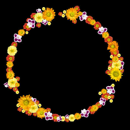 decorative environment and recycling symbol from color flowers photo