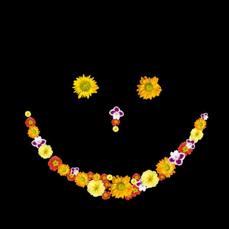 decorative smile symbol from color flowers photo