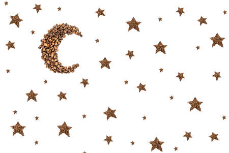 refreshment: Moon and stars  from coffee beans isolated on white
