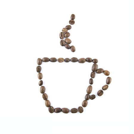 Coffee cup from coffee beans isolated on white photo