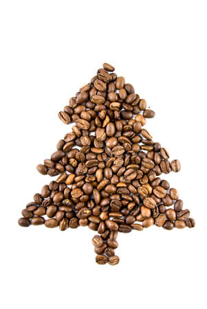fir-tree from coffee beans isolated on white photo