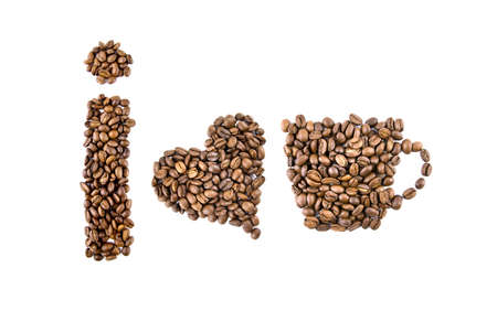 i love coffee symbols from coffee beans isolated on white