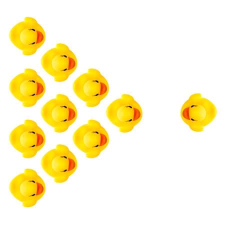 white isolé sur les canards de caoutchouc jaune