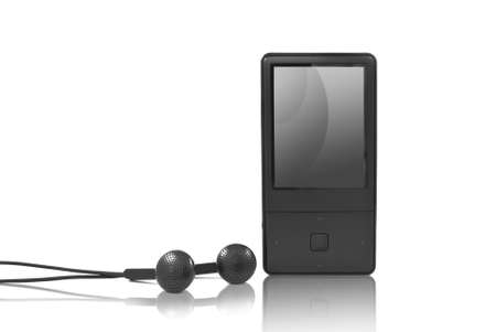 mp3 player with headphones isolated photo