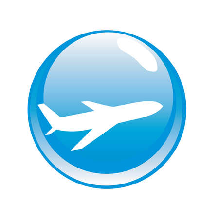 private jet: vector modern button with plane symbol