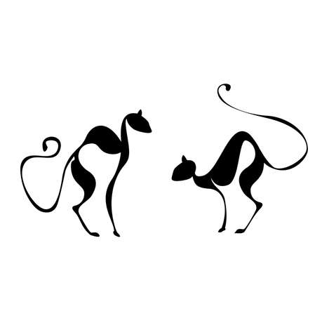 pussycat: vector elegance cats silhouette isolated on white Illustration