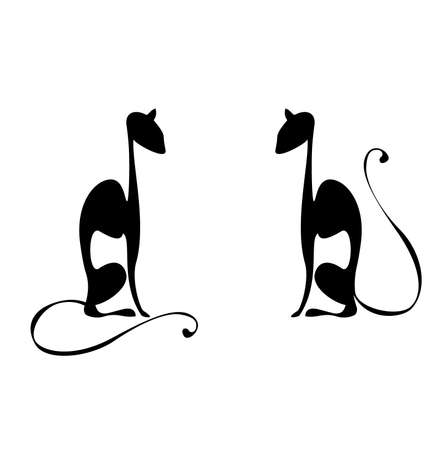 vector elegance cats silhouette isolated on white Vector