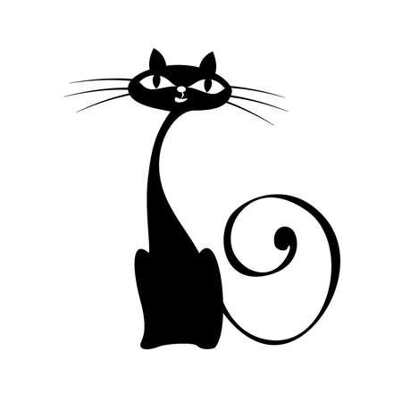 vector elegance cats silhouette isolated on white Stock Vector - 4187281