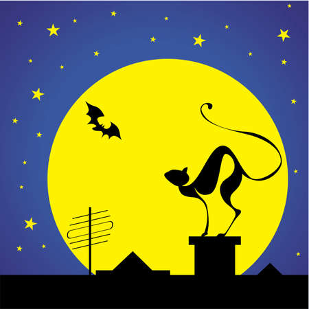 silhouettes of the black cat on the roof and bat against moon and stars Stock Vector - 4187301