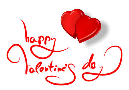 greetings for valentines day and red hearts isolated on white photo