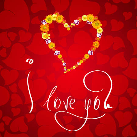I love you. Card for Valentines day with small heart from flowers