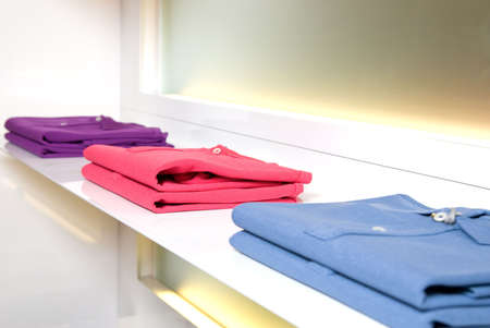 white store shelf with color clothes Stock Photo - 4609396
