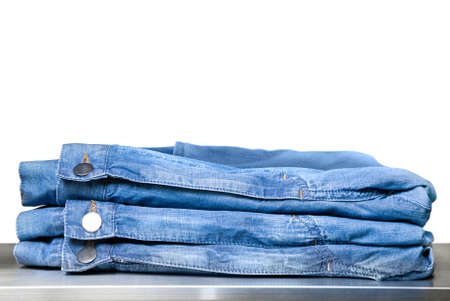 blue jeans in store isolated on white Stock Photo - 4609518
