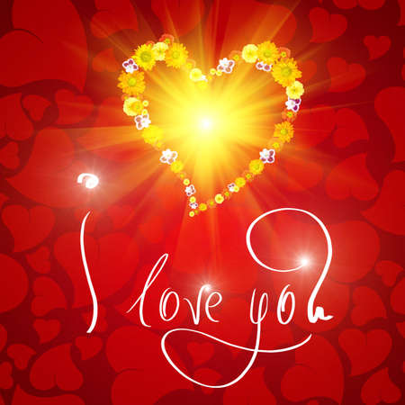 I love you. Card for Valentines day with small heart from flowers Stock Photo - 4798291