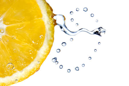 lemon with water drops photo