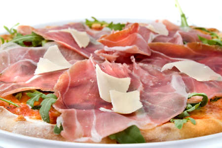 pizza pie: italian pizza with ham and cheese Stock Photo