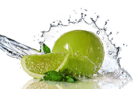 lime fruit: Water splash on lime with mint isolated on white