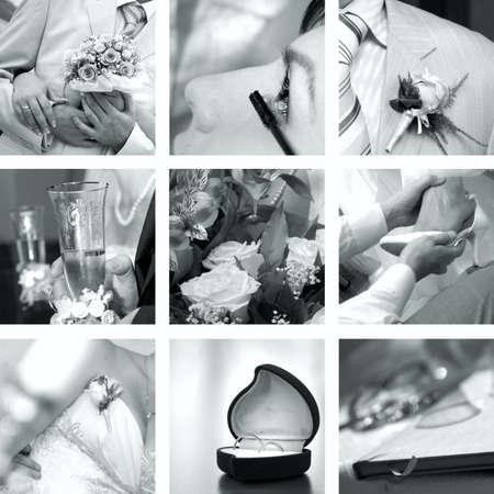 black and white wedding photos set photo