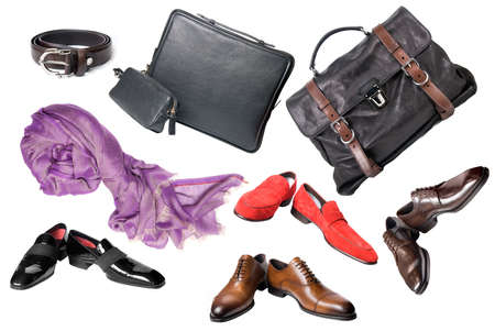 set of male shoes, accessories and bags isolated on white photo