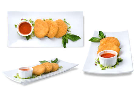 spicy cheese cakes with sauce on the plate photo