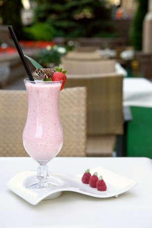 strawberry milkshake on the table Stock Photo - 5423841