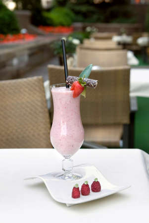 strawberry milkshake on the table Stock Photo - 5423815