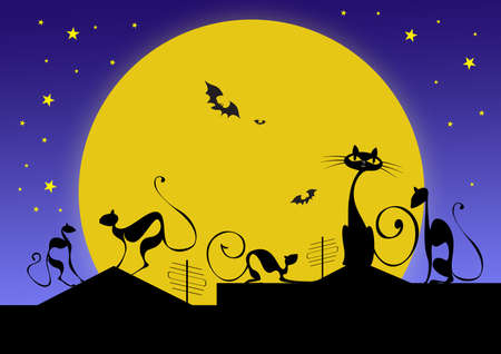 silhouettes of black cats and bats against moon in halloween night Stock Photo - 5682900