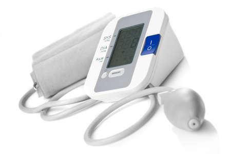 medical cure: Automatic digital blood pressure monitor isolated on white