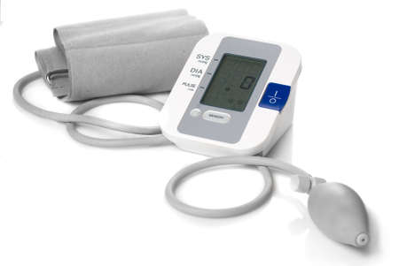 Automatic digital blood pressure monitor isolated on white photo