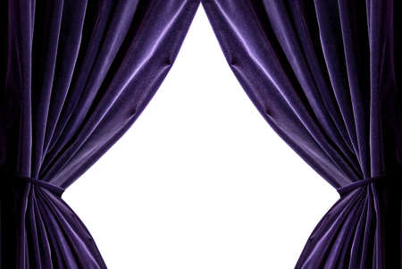 violet curtains isolated on white Stock Photo - 6119321