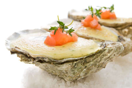 oysters with sauce  photo