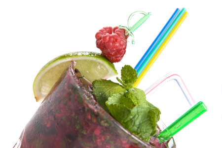 mohito: Energy mohito with mint, lime and raspberry isolated on white
