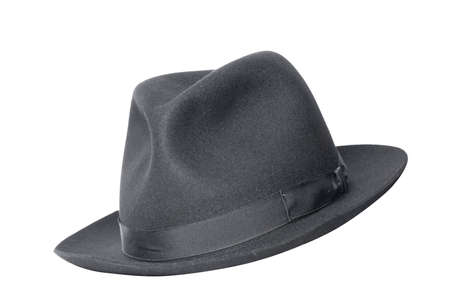 retro black hat isolated on white photo