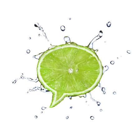 fallin: Lime in shape of dialog box with water drops isolated on white Stock Photo