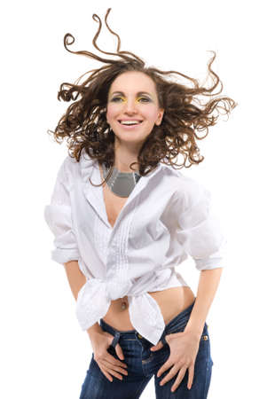 sexy smiling woman in white shirt Stock Photo - 6616417