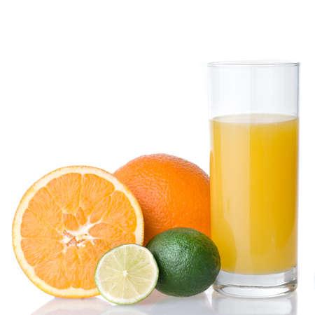 orange juice and orange with lime isolated on white photo