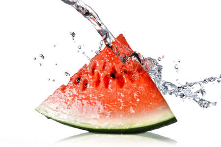 watermelon and water splash isolated on white Stock Photo