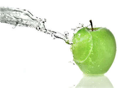 fresh water splash on green apple isolated on white photo