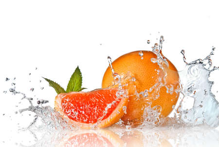 fruit in water: Water splash on grapefruit with mint isolated on white