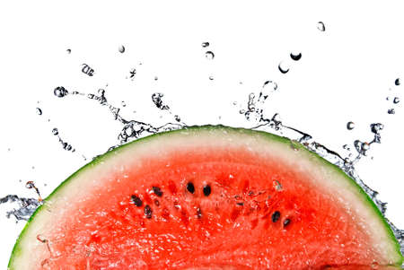 watermelon slice: watermelon and water splash isolated on white Stock Photo