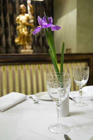served table in restaurant with flower Stock Photo - 6533532